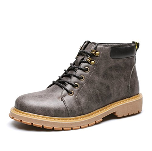 2017 Men's Martin Boots Genuine Leather Retro Tooling Shoes Office Career Autumn Winter Casual Sports Grey