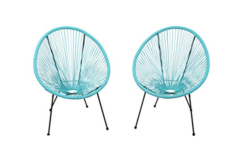 Acapulco Chair, All-Weather Wicker Indoor/Outdoor Round Lounge Chair Set of 2 by Modern Century Outdoor [ CM-0116] (2 Piece, Aqua)
