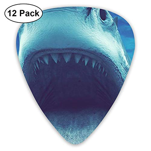 CMFYCS 12 Pack Guitar Picks Shark Open Mouth Underwater Think, Medium and Heavy,Unique Guitar Gift for Bass, Electric & Acoustic Guitars