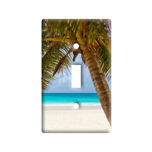 Tropical Palm Tree Ocean Beach - Plastic Wall Decor Toggle Light Switch Plate Cover]()