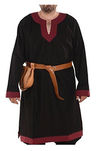 (byCalvina - Calvina Costumes Arthur Medieval Viking LARP Renaissance Mens Cotton Tunic- Made in Turkey, L-BLC/BRG)