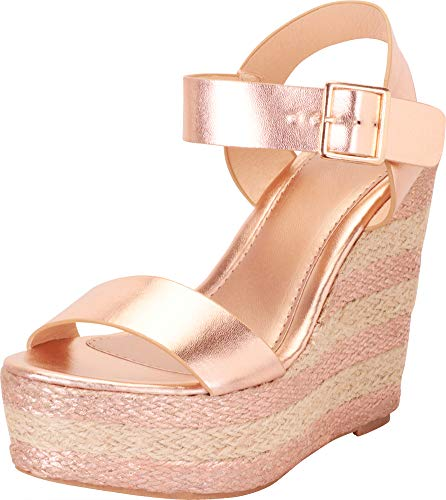 Gold Woven Platform - Cambridge Select Women's Open Toe Striped Espadrille Chunky Platform Wedge Sandal,10 B(M) US,Rose Gold PU