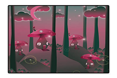 Water-Repellent Rugs Mystical Magic Landscape Hills Trees Mushroom Houses Crescent Moon Night Sky Jade Green Pink Anti Bacterial 4'x5'
