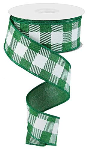Wired Ribbon Green and White Striped Check on Royal 1.5