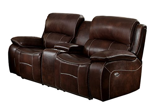 Homelegance Mahala Power Recliner Loveseat Top Grain Leather Match, Brown ()