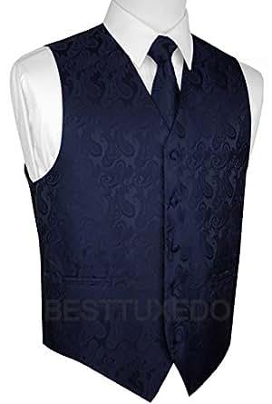 Italian Design, Men's Tuxedo Vest, Tie & Hankie Set in Navy Paisley at