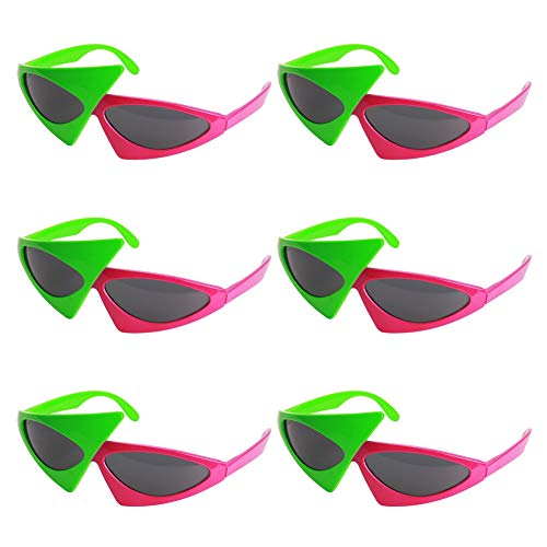 Ocean Line Roy Purdy Glasses - Novelty Asymmetric Green and Red Party Costume Sunglasses, Neon Hip Hop Shades for Kids and Adults(6 Pairs) ()