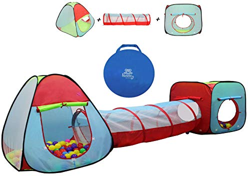 Kiddey Children's Dual Play Tent with Tunnel (3-Piece Set) - Indoor/Outdoor Playhouse for Boys and Girls - Lightweight, Easy to Setup (3 Pc. Tent)