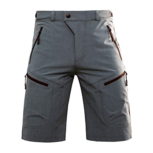 Hiauspor Men-Hiking-Climbing-Cargo-Shorts-Short (Gray M (Waist: 30-32