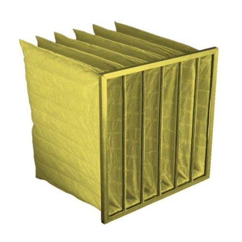 """Filtration Group 18284 Pocket Air Filter, Moisture Resistant, Ultrasonically Welded Synthetic Media, Yellow, 14 MERV, 8 Pockets, 24"""" Height x 24"""" Width x 22"""" Depth (Case of 4)"""