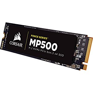 CORSAIR FORCE Series MP500 480GB NVMe PCIe Gen3 x4 M.2 SSD Solid State Storage, Up to 3,000MB/s 17 The CORSAIR NVMe PCIE boosts bandwidth, allowing you to access all of your data, load files and launch games with speeds up to 4x faster than the SATA 3.0 CORSAIR NVMe M.2 SSDs enable a new level of performance in a compact form-factor Additional error bit correction and improved data retention, while supporting the latest generation NAND