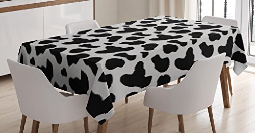 Ambesonne Cow Print Tablecloth, Cow Hide Pattern with Spots Farm Life with Cattle Camouflage Animal Skin, Dining Room Kitchen Rectangular Table Cover, 60 W X 90 L inches, Charcoal Grey White