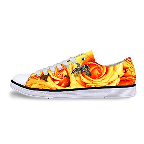 FOR U DESIGNS Stylish Yellow Floral Print Light Lace Up Canvas Sneaker Awesome Women Shoes US 10