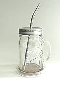 Genuine Ball 16oz Mason Jar Mug with Coaster, Banded Lid, and Stainless Steel Reuseable Straw