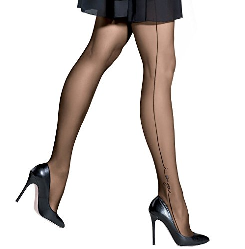 """(Gatta RONNA 28 Women's Sheer Black Printed Tights with Side Seam and Shimmering I LOVE YOU Detail [Made in Europe] (4(L) 5'7""""-5'10"""", 138-185 lbs))"""