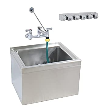 Ordinaire BK Resources Stainless Steel Floor Mount Mop Sink With Service Faucet And  Hose, 16u0026quot;