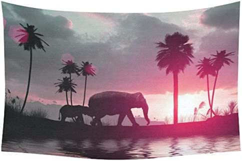 INTERESTPRINT Summer Tropical Home Decor Wall Art, Elephants Family Sunset Palms Tree Tapestry Wall Hanging Art Sets 90 X 60 Inches