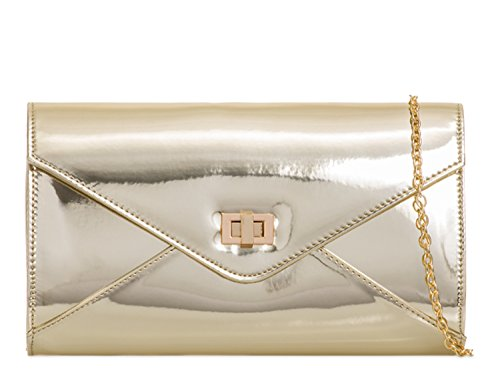 Evening Party Clutch Wedding Patent Clutch Gold LeahWard Purses 042 Envelope Bags Women's OA7qwH