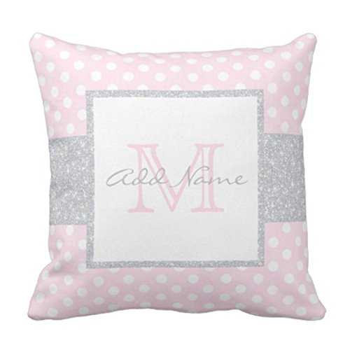 Emvency Throw Pillow Cover Gray Monogrammed Monogram Grey Pink Polka Dot Baby Name Decorative Pillow Case Home Decor Square 18 x 18 Inch - Pillows Baby Monogrammed