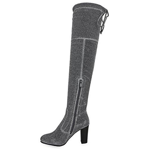 Stiefelparadies Damen Stiefel Overknees Leicht Gefütterte Langschaftstiefel Schuhe Flandell Silber Glitzer