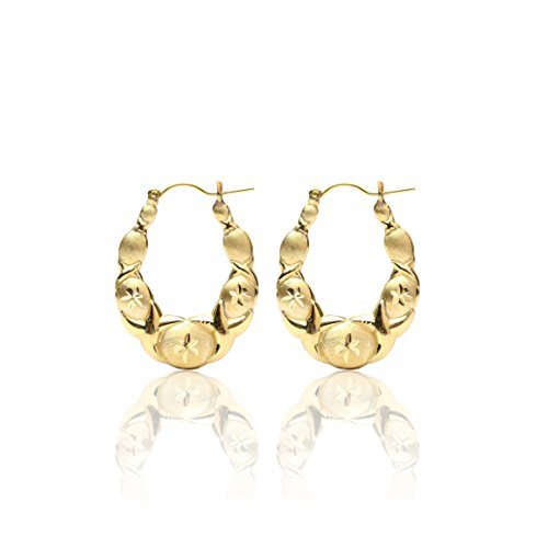 10k Yellow Gold XOXO Hugs and Kisses Love Earrings for Women & Girls, Medium by SL Gold Imports