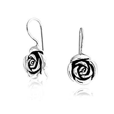 Mothers Day Gifts Antique Styled Sterling Silver Flower Rose Drop Earrings