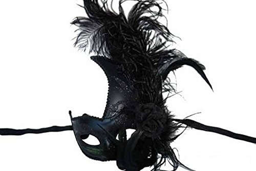 Venetian Luxury Style Black Masquerade Mask Feather Black (Feathered Masquerade Mask)