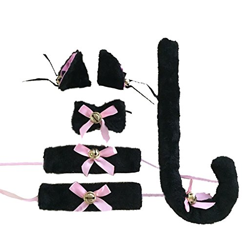 [YOHEE Cat Cosplay Set Ears Tail Collar Paws Hand Bell Anime Costume Dress Up (Black 2#)] (Funny 2 People Costume)