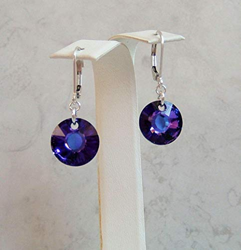 (Heliotrope Dark Purple Sun Crystal Sterling Silver Leverback Earrings Made With Swarovski Gift Idea)