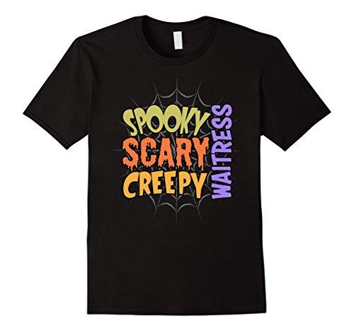 Mens Spooky Scary Creepy Waitress Halloween Costume T-shirt 3XL (Scary Waitress Halloween Costume)