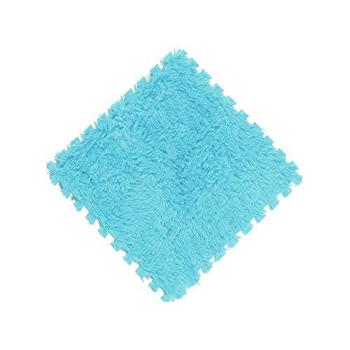 - Wffo 30x30cm Kids Carpet Foam Puzzle Mat EVA Long Fluff Baby Eco Floor 9 Colors (Blue)