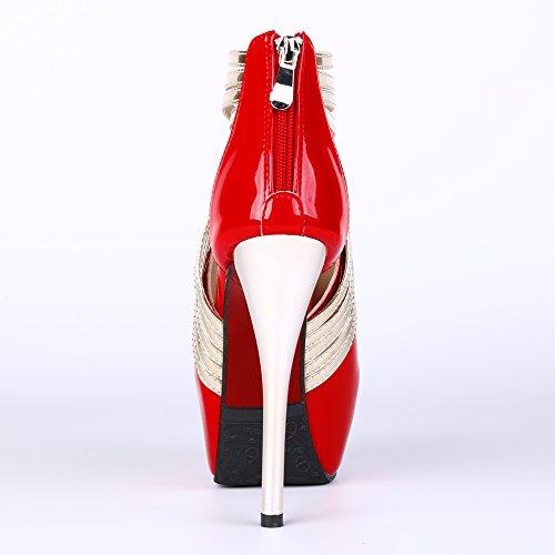 Escarpins À Rayures Peep-toe Femme Mode Fereshte Sexy Super Talons Pu Pu Red