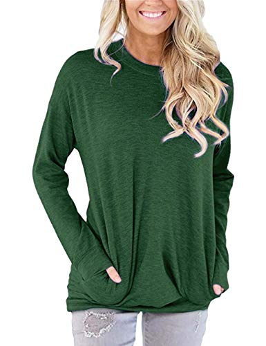 (Hisweet Women's Casual Tunic Shirt Long Sleeve Tops Loose Comfy Sweatshirt Green XL)