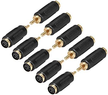 uxcell RCAオス-Sビデオ4端子メスコネクタ ステレオオーディオビデオケーブルアダプターカプラー ブラック 10個