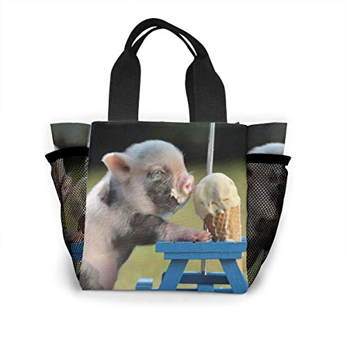 Fjb11 Lunch Handbag with Water Bottle Holder for Women, Baby Pigs Eating Ice Cream Printed Multipurpose Snack, Picnic Tote Bag ()
