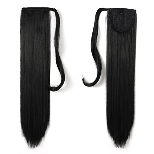 Onedor 24'' Straight Wrap Around Ponytail Extension for Women. Premium Synthetic Fiber 120g-130g (1B# Off Black) by Onedor