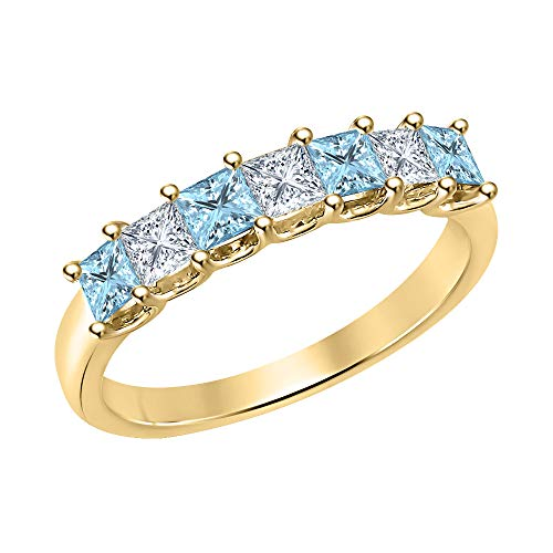 - Princess Cut Aquamarine & Diamond Half Eternity 14k Yellow Gold .925 Sterling Silver Wedding 7-Stone Band Ring for Women