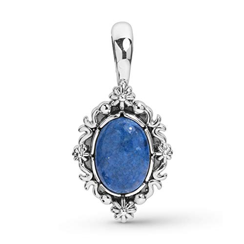Sterling Silver Denim Blue Lapis Lazuli Oval Gemstone 1-1/2