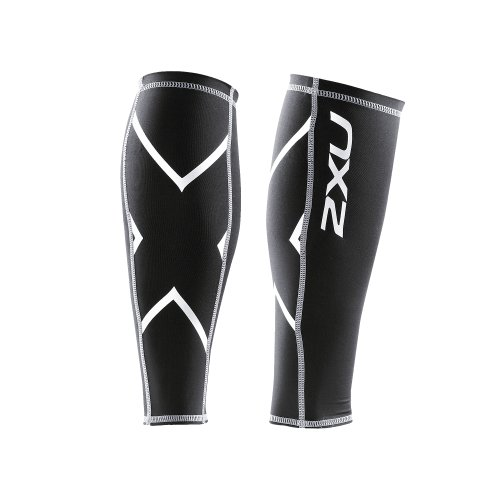 2XU Compression Calf Guards, Black/Black, Large
