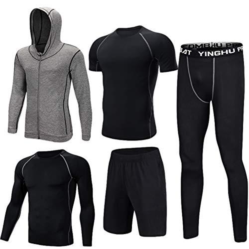 Cappuccio Compressione Grigio Con Corta Sportivi 5 Manica Nero Pantaloncini Pantaloni Abbigliamento Vestiti A Lvguang Completi Giacca Set Lunga 2 Uomo Camicie Pezzi xRq0v86