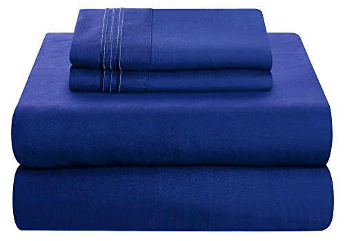 Mezzati Luxury Bed Sheet Set - Soft and Comfortable 1800 Prestige Collection - Brushed Microfiber Bedding (Royal Blue, Full Size) by Mezzati