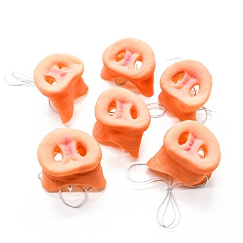 IDS 6 Pcs Pig Nose With Elastic Band Costume Animal Mask Holloween Party Prop for Adult ()