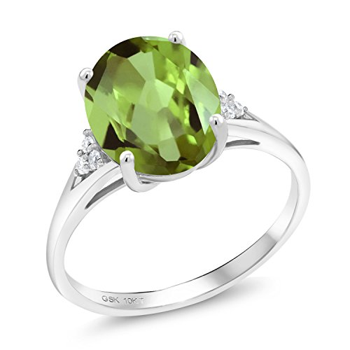(Gem Stone King Green Peridot and White Diamond 10K White Gold Women's Engagement Ring (3.07 Ct Oval Available in size 5, 6, 7, 8, 9))