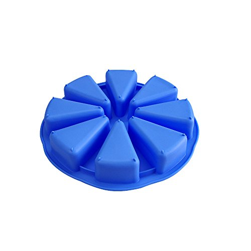 Scone Mini Pan - Mirenlife 8 Triangle Cavity Silicone Portion Cake Pan Scottish Scone & Cornbread Pan Slices Pastry Pan Pizza Slices Pan (Blue)