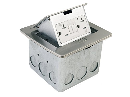 Lew Electric CECOMINOD086135  PUFP-CT-SS Countertop Box, Pop Up w/20A GFI Receptacle - Stainless - In Ct Outlets