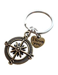 """Bronze Open Metal Compass Keychain """"I Love You"""" Heart- I'd Be Lost Without You"""