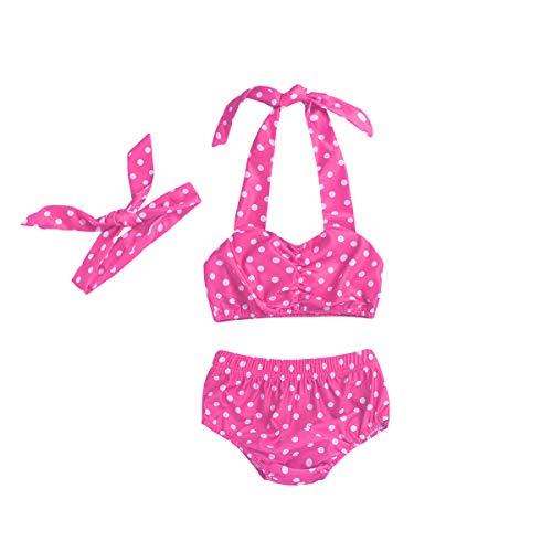 - Baby Girl Bikini,Kids Toddler Polka Dot Swimsuits Halter Swimwear Bikinis Set with Headband (Pink, 3-4T)