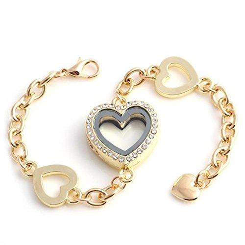 Rinhoo Stainless Steel Rhinestone Living Memory Love Heart Photo Frame Floating Locket Charms Bangle Bracelets (Gold)