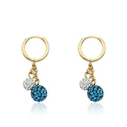 Molly Glitz Glitz Blitz 14k Gold-Plated Huggy Earring Accented With Blue & White Crystal Balls Lariat Dangle