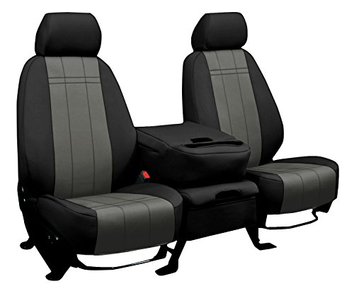 Rear SEAT: ShearComfort Custom Neoprene-Style Seat Covers for Toyota Tacoma (2016-2019) in Black w/Charcoal for 40/60 Split Back and Bottom w/ 3 Adjustable Headrests (Double Cab)